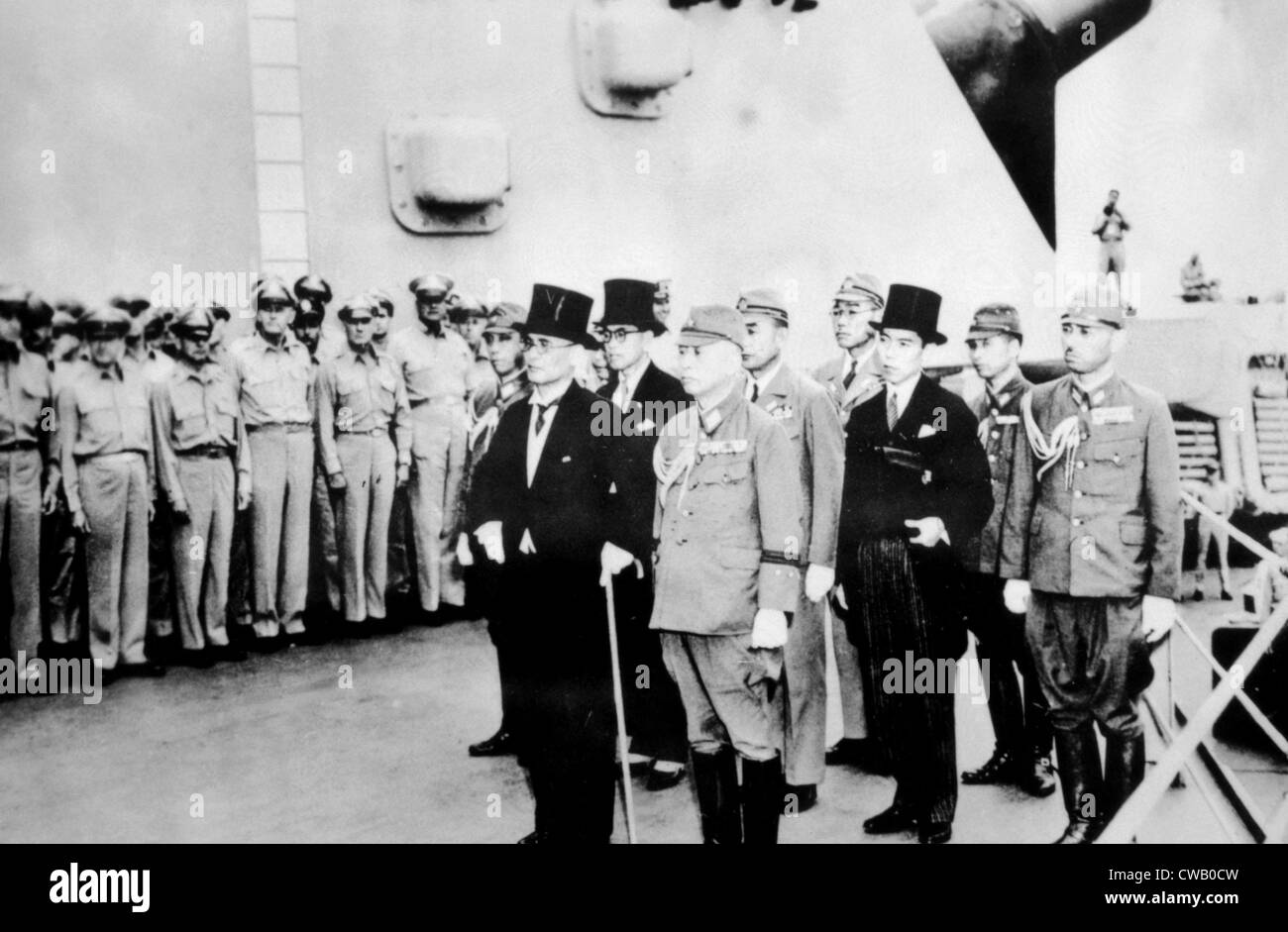 World War Ii Japanese Delegation Aboard The U S S Missouri For Stock Photo