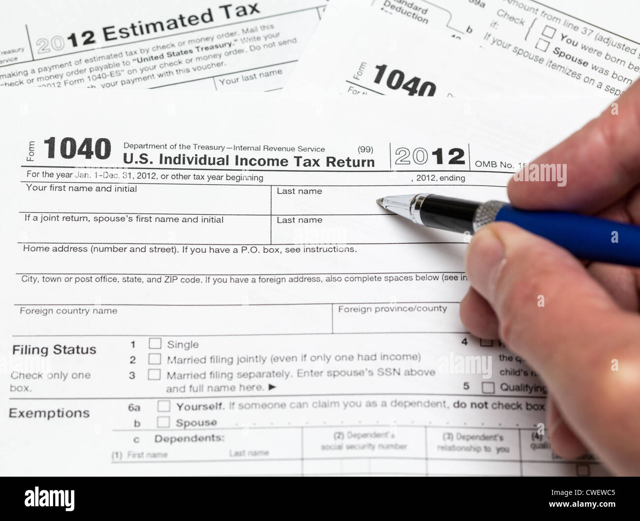 Tax Form For Tax Year For Us Individual Tax Return With Stock Photo