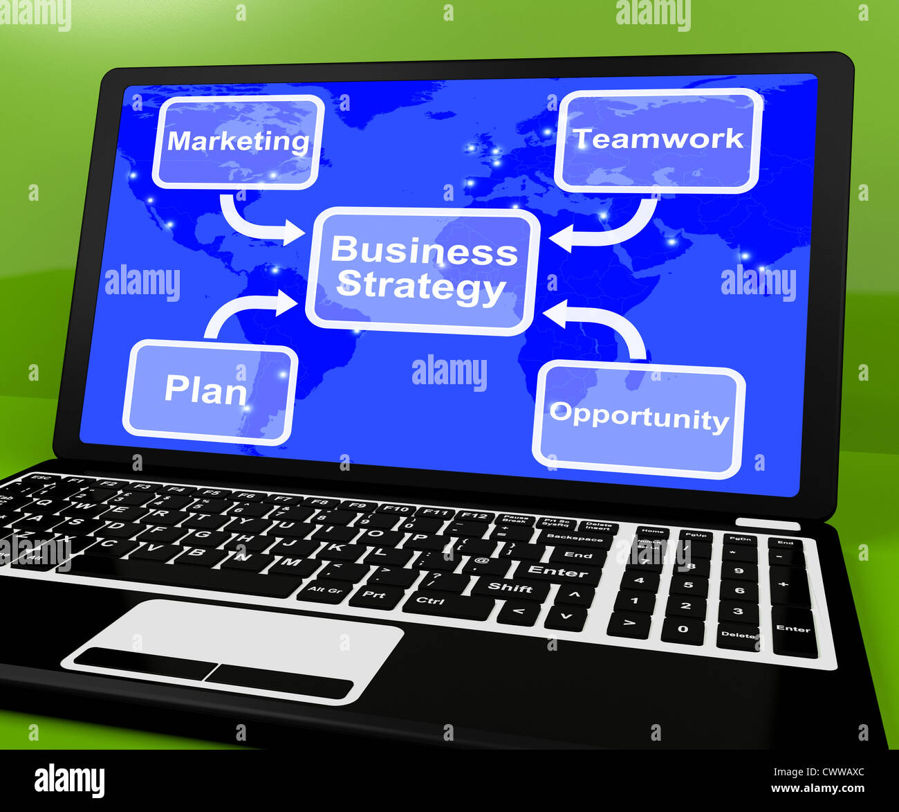 hight resolution of business strategy diagram on computer shows teamwork
