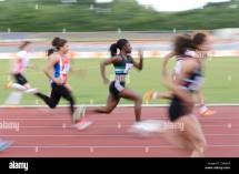 Blurred Colourful Motion And Action Of Track Field