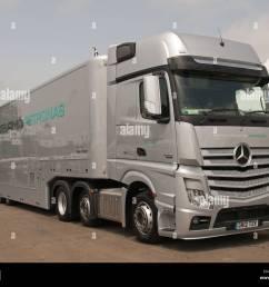 mercedes amg petronas team f1 truck goodwood festival of speed england uk 2012 [ 1300 x 1065 Pixel ]