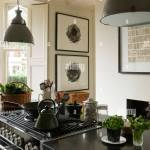 Kettle On Hob Of Kitchen Island With 1950s Grey Pendant