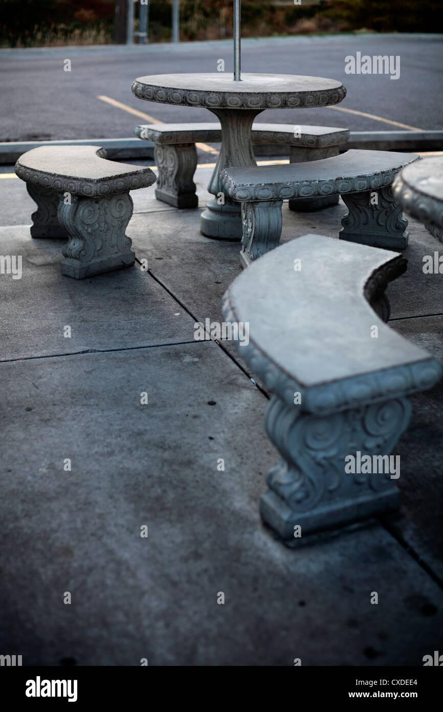 https www alamy com stock photo round concrete patio tables 50698540 html