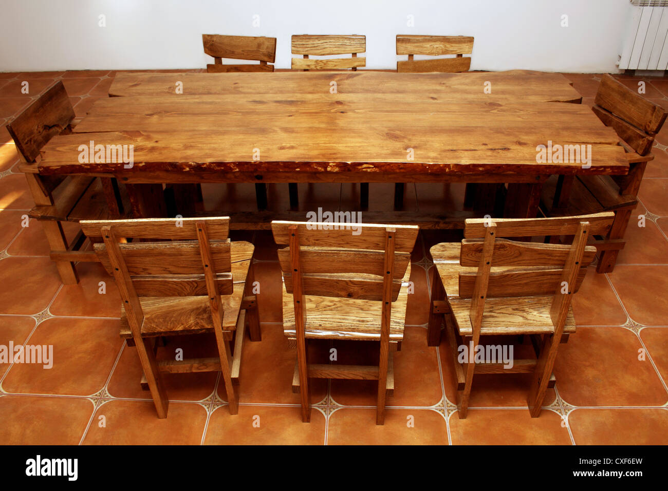 large kitchen table contractors hand made stock photo 50736193 alamy