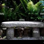Stone Granite Seat Rustic Look Looking Garden Gardening Feature Stock Photo Alamy