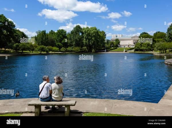 Couple Sun Bench Lake Stock &