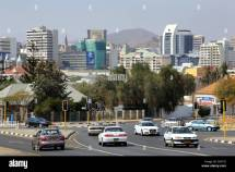 Street And Skyline Of Windhoek Namibia Stock
