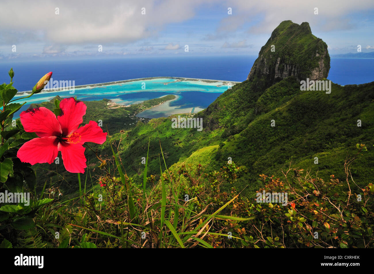 View Of The Reef Atoll Motu And Mount Otemanu From