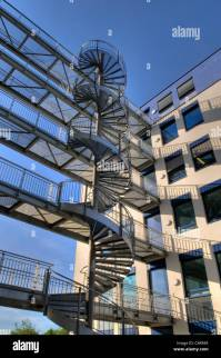Modern office building, architecture, with a steel spiral ...