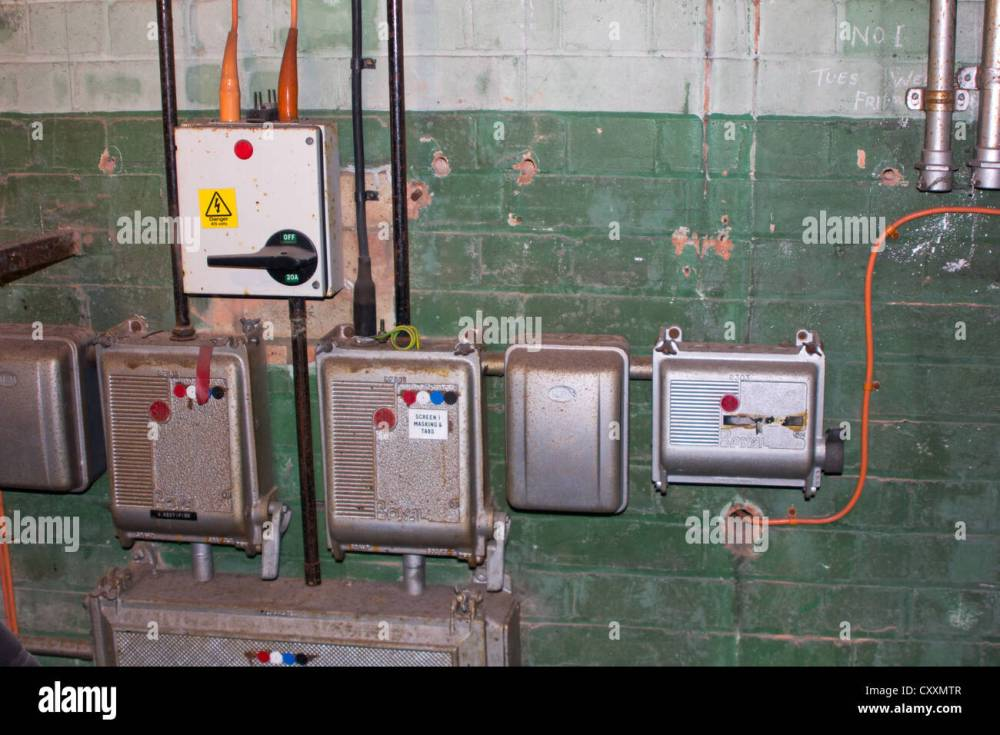 medium resolution of old electrical switches and fuse boxes stock image