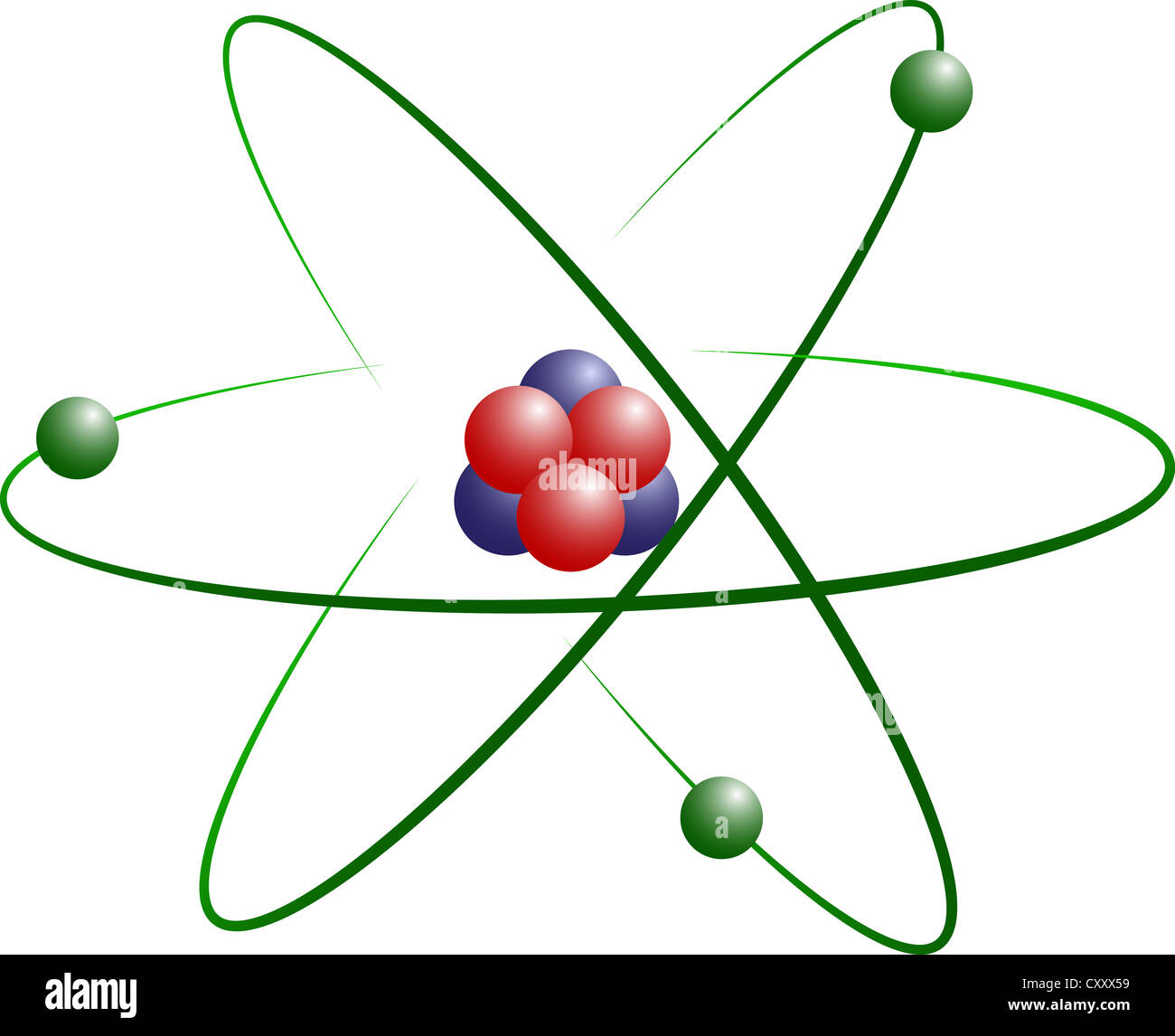 hight resolution of atom model of lithium with protons electrons and neutrons