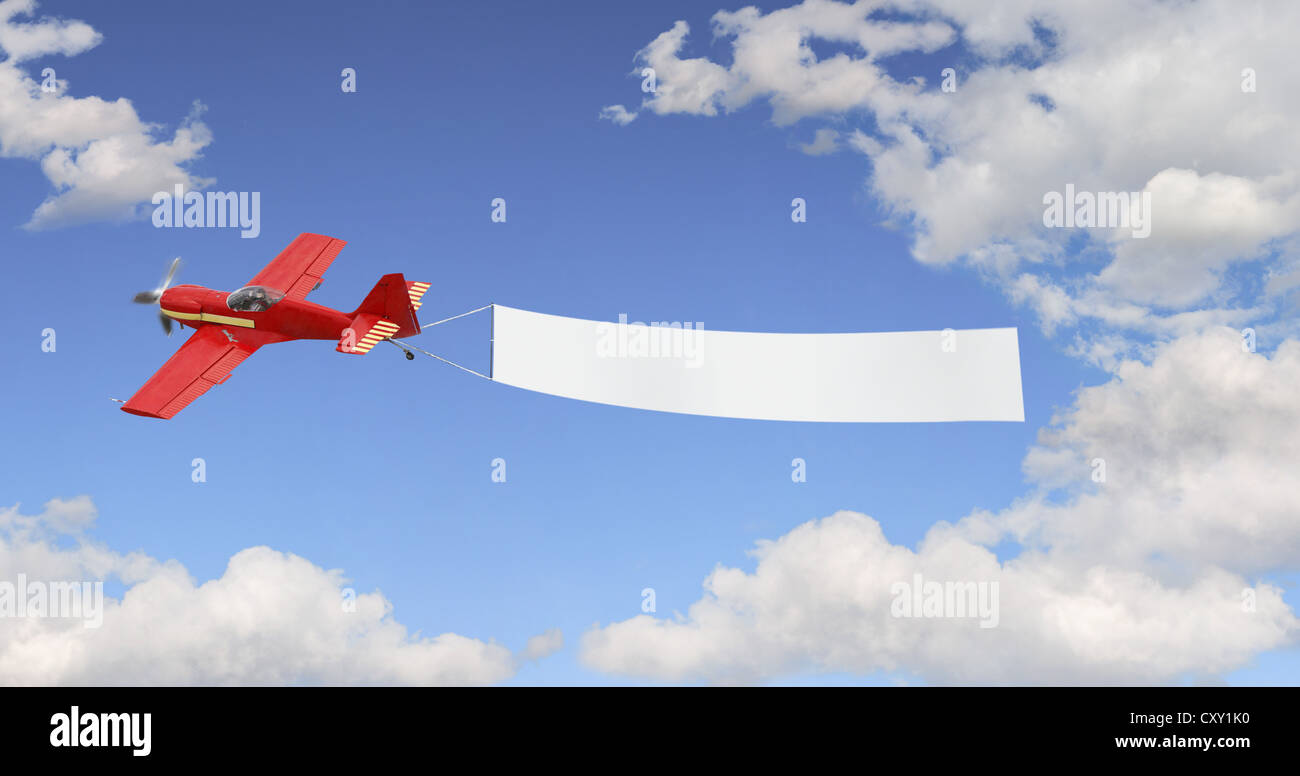 Plane Pulling A Blank Banner In The Sky Illustration