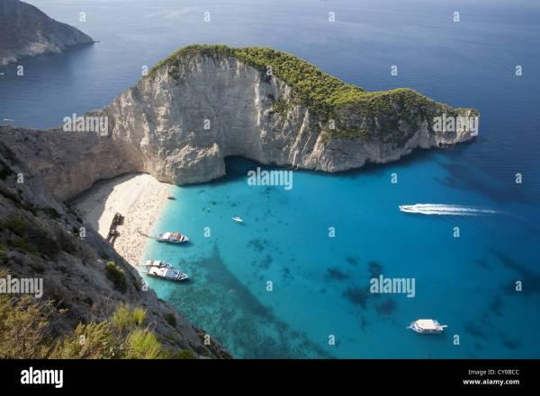 Mediterranean bay, Shipwreck Bay, Island of Zakynthos or ...