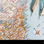 Closeup Of A Map Showing Part Of United States Of America With Stock Photo Alamy