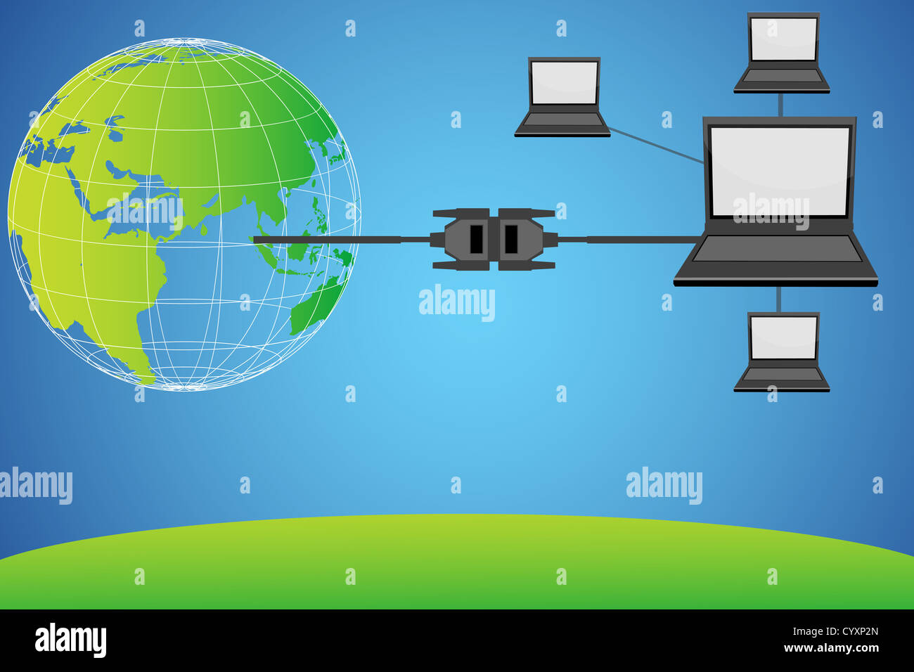 hight resolution of illustration of laptops connected with globe through wire