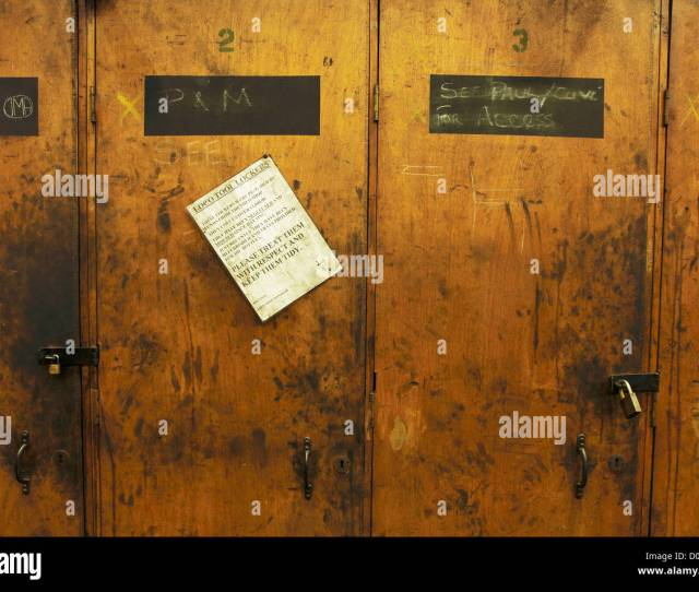 Some Old Worn Out And Abused Wooden Lockers With An Amusing Sign Asking For Them To Be Treated With Respect