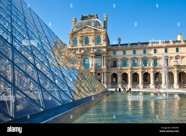 Side Of Glass Pyramid Louvre Art