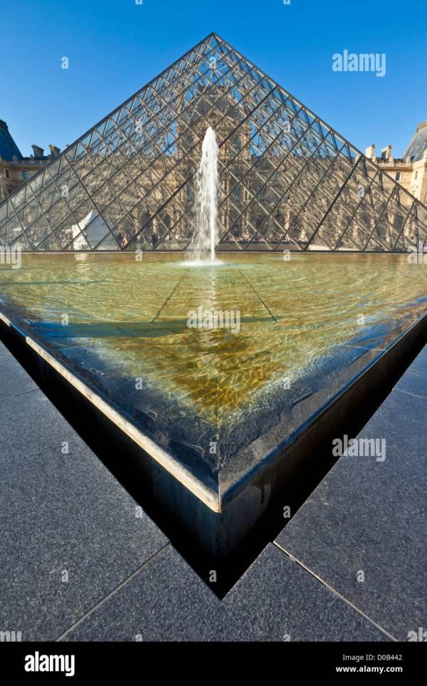 Glass Pyramid Entrance Louvre Museum Paris France Eu Stock