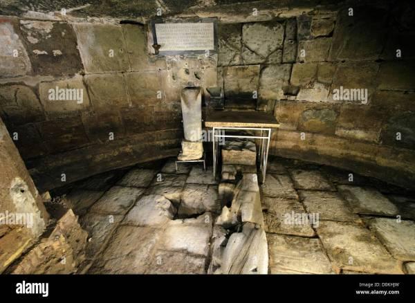 Mamertine Prison In Rome With Column Commemorating