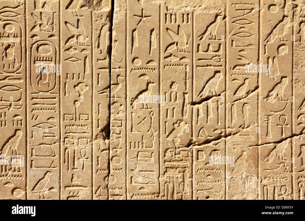 Ancient Egypt Hieroglyphics On Wall Stock Photo