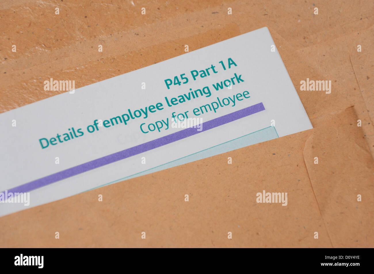 P45 Employee Leaving Work Form.
