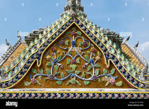 Thailand Chinese Temple Ornate Religion Stock &