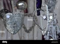 Old fashioned Victorian style silver Christmas decorations ...