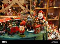 Christmas toys and decorations in a store window display ...
