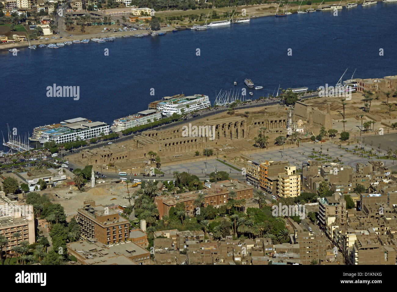 Egypt Luxor Temple Nile River Valley From The Air West Bank Stock Photo
