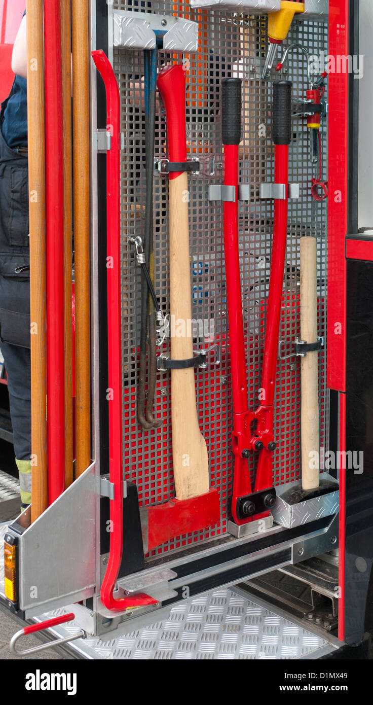 https www alamy com stock photo fire truck tools hanging in a rack 52705305 html