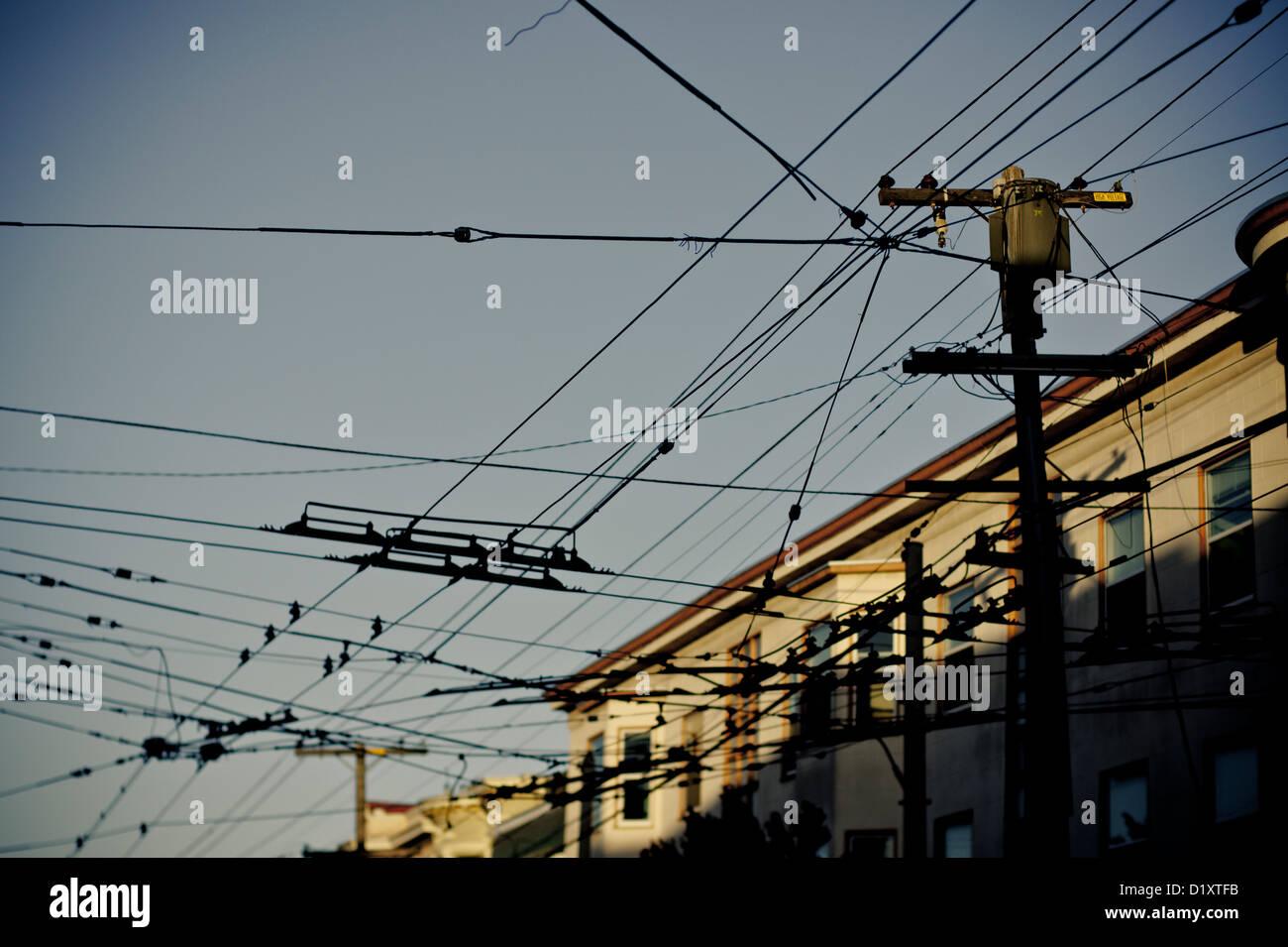 hight resolution of overhead street car cables san francisco california usa