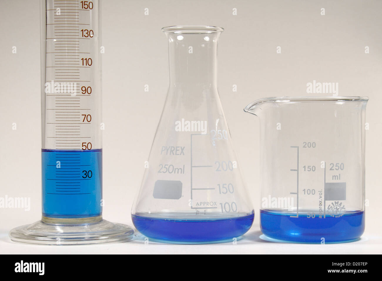 50ml Of Blue Liquid In A Measuring Cylinder Conical Flask