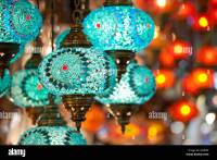 Colourful electric turkish glass lanterns lamps in Grand ...
