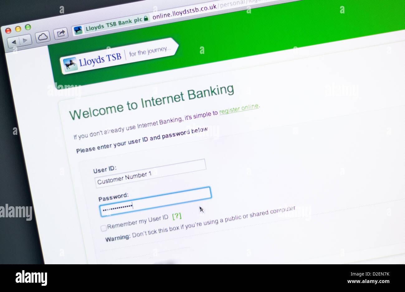 Lloyds Tsb Bank Online Banking Stock Photo Alamy