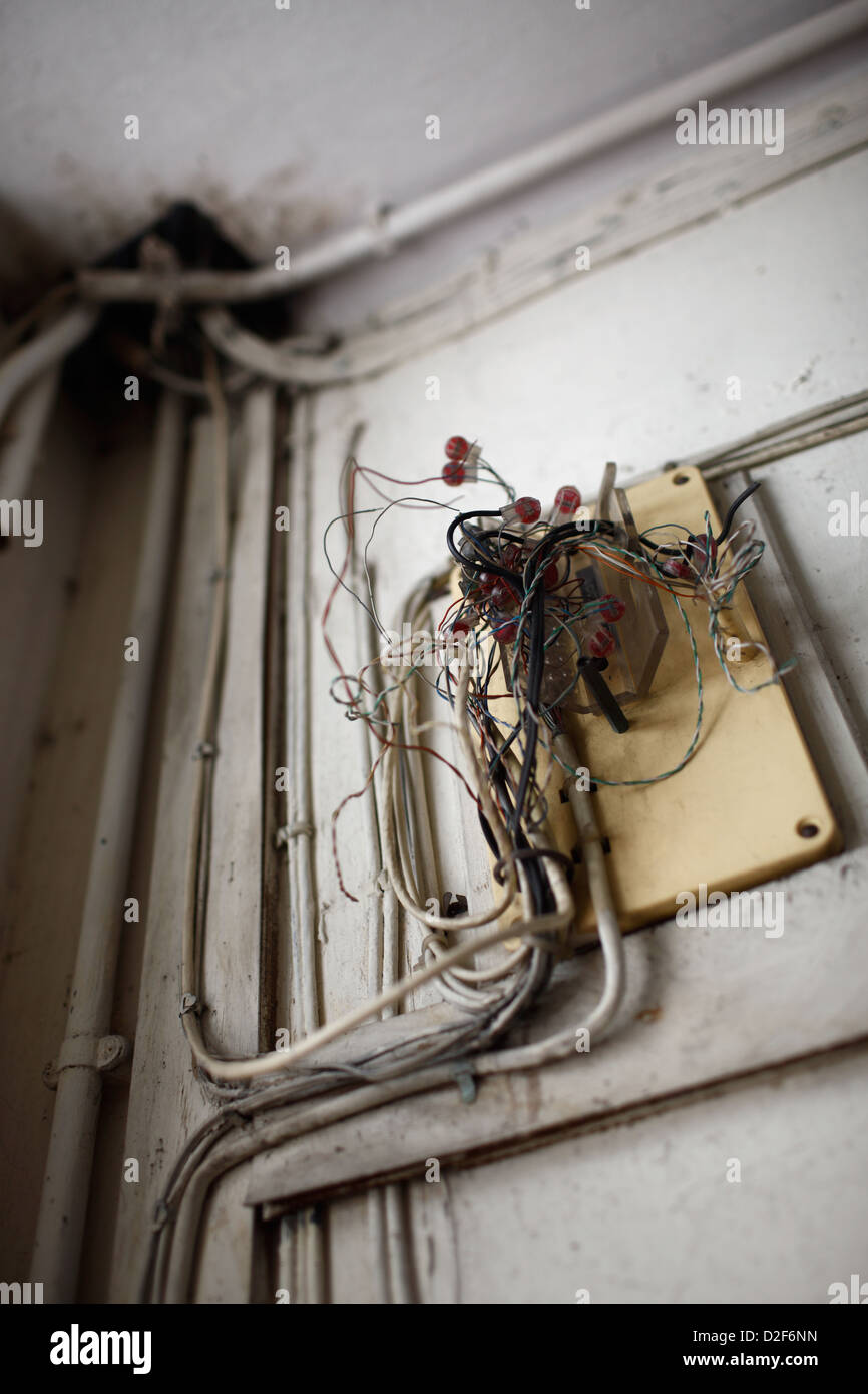 hight resolution of hong kong china broken distribution box for electrical wiring stock image