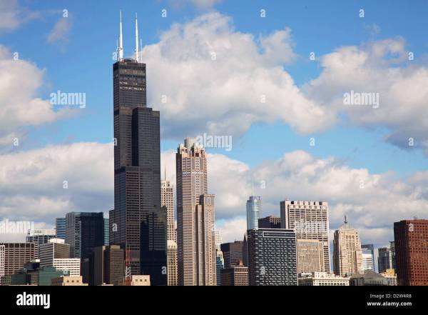 Chicago Sears Willis Tower Skyline Summer Clouds Blue