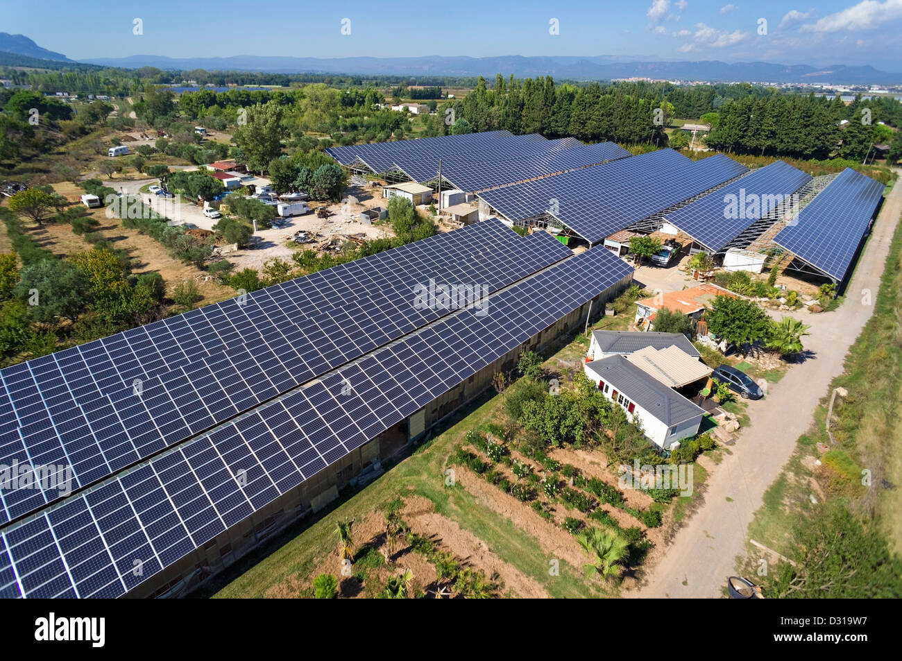 Solar Panels On Commercial Greenhouses For Food Production Aerial Stock Photo Alamy