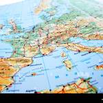 Europe Map With Mountains And Rivers Stock Photo Alamy
