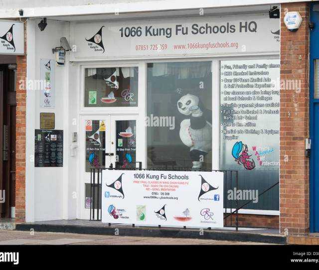 A Martial Arts Shop In Hastings  Kung Fu Schools Hq The White Painted Shop Front Has A Large Statue Of The Kung Fu Panda