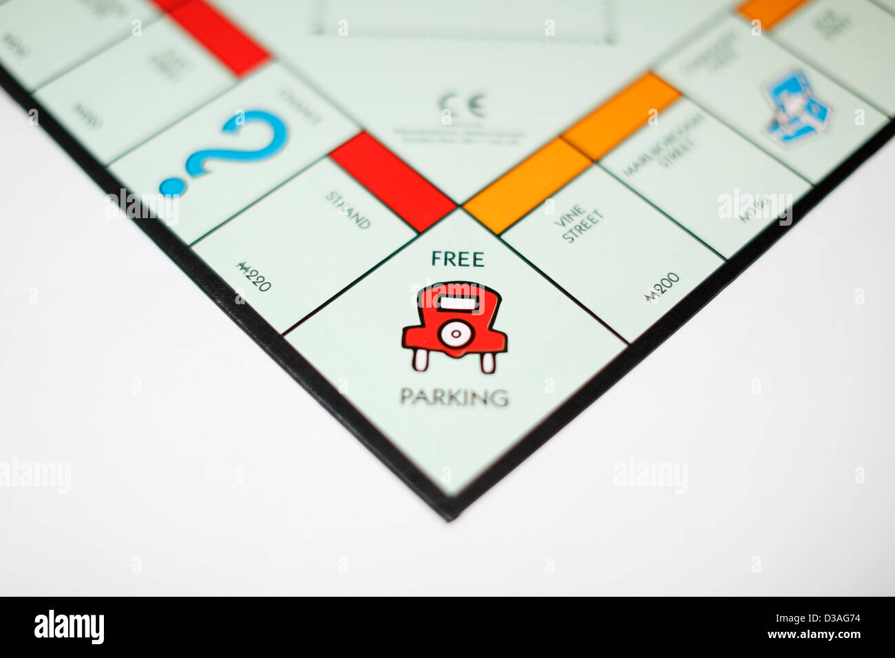 hight resolution of free parking on a monopoly board game