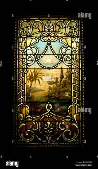 old stained glass window in a Victorian home Stock Photo ...