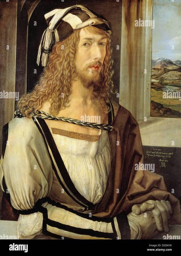 Albrecht Durer -portrait 1498 Oil Panel. Museo Del