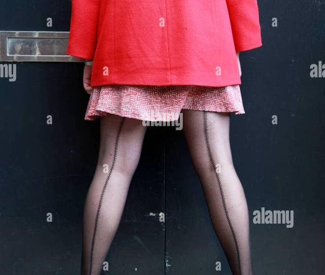 Woman Back View Wearing Black Seamed Stockings Stock Image