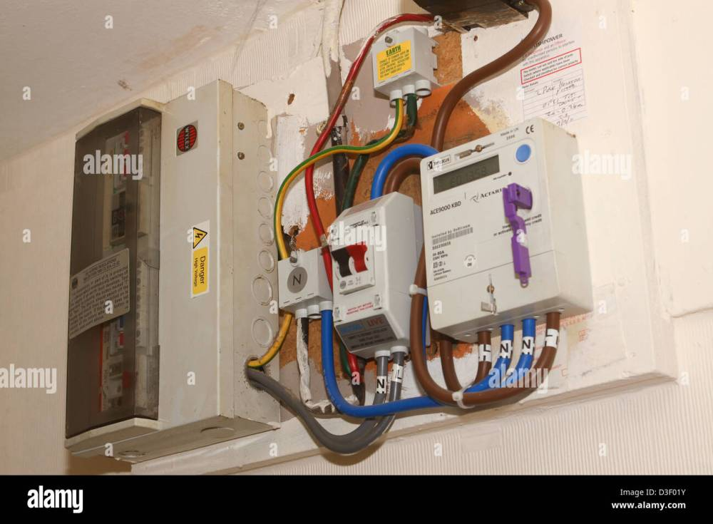 medium resolution of uk prepay key electricity meter and distribution equipment stock image