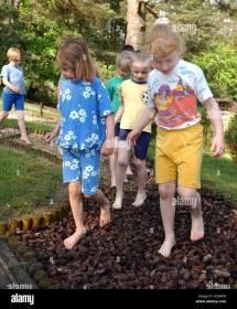 Kids Walking Barefoot