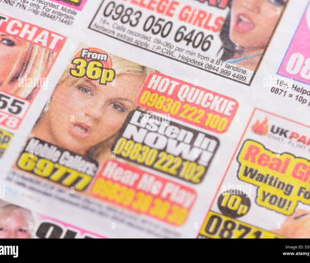 Adult Chat Line Adverts In The Back Pages Of A Tabloid Newspaper Uk