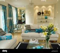 Turquoise And White Living Room