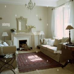 Country Rug For Living Room Decorating Ideas Oblong Rooms Cream Sofas On Either Side Of Fireplace In French With Oriental Stone Flagged Floor