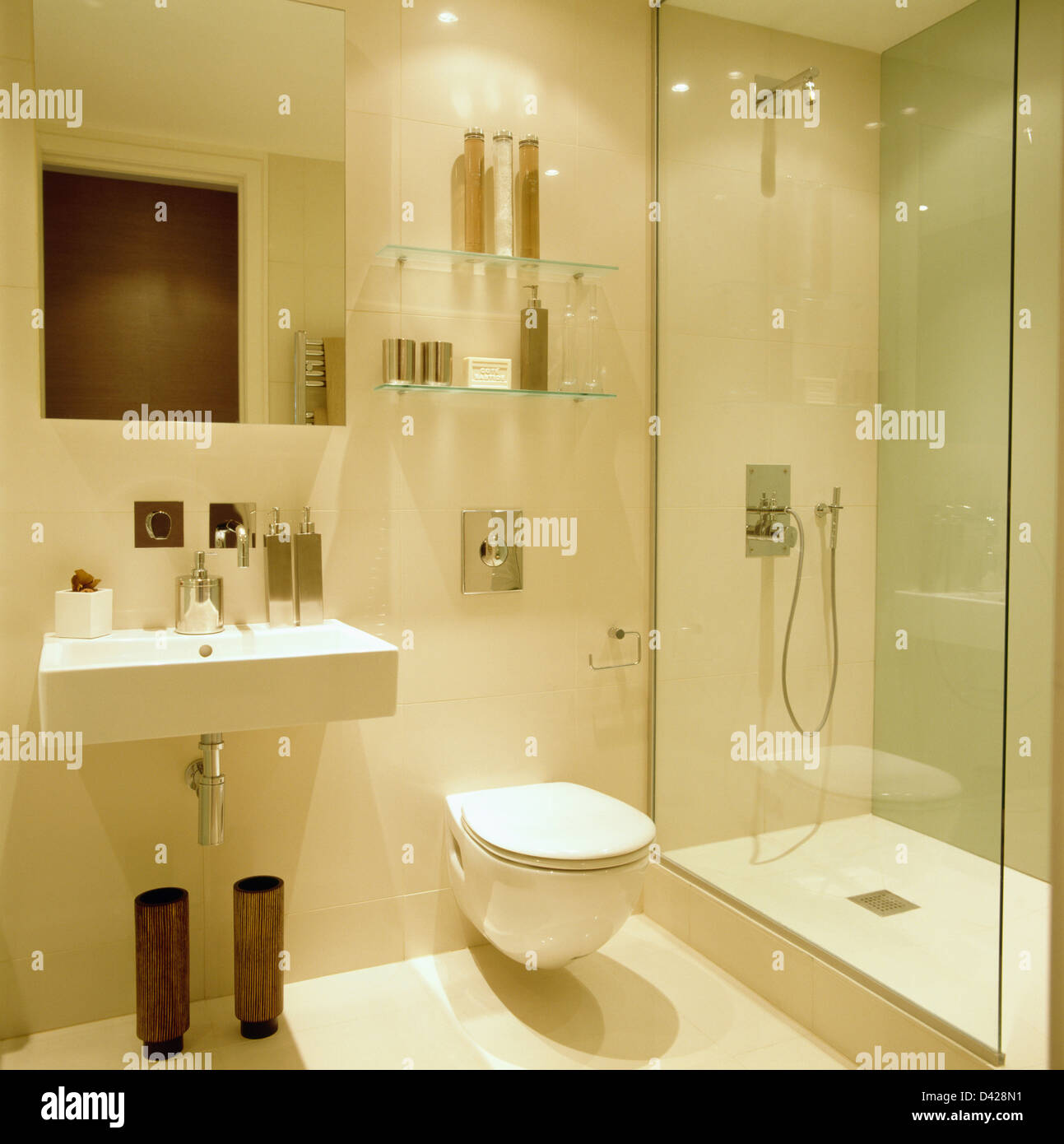 Glass Shelves Bathroom Wall Mounted Basin And Glass Shower Cabinet In Modern White