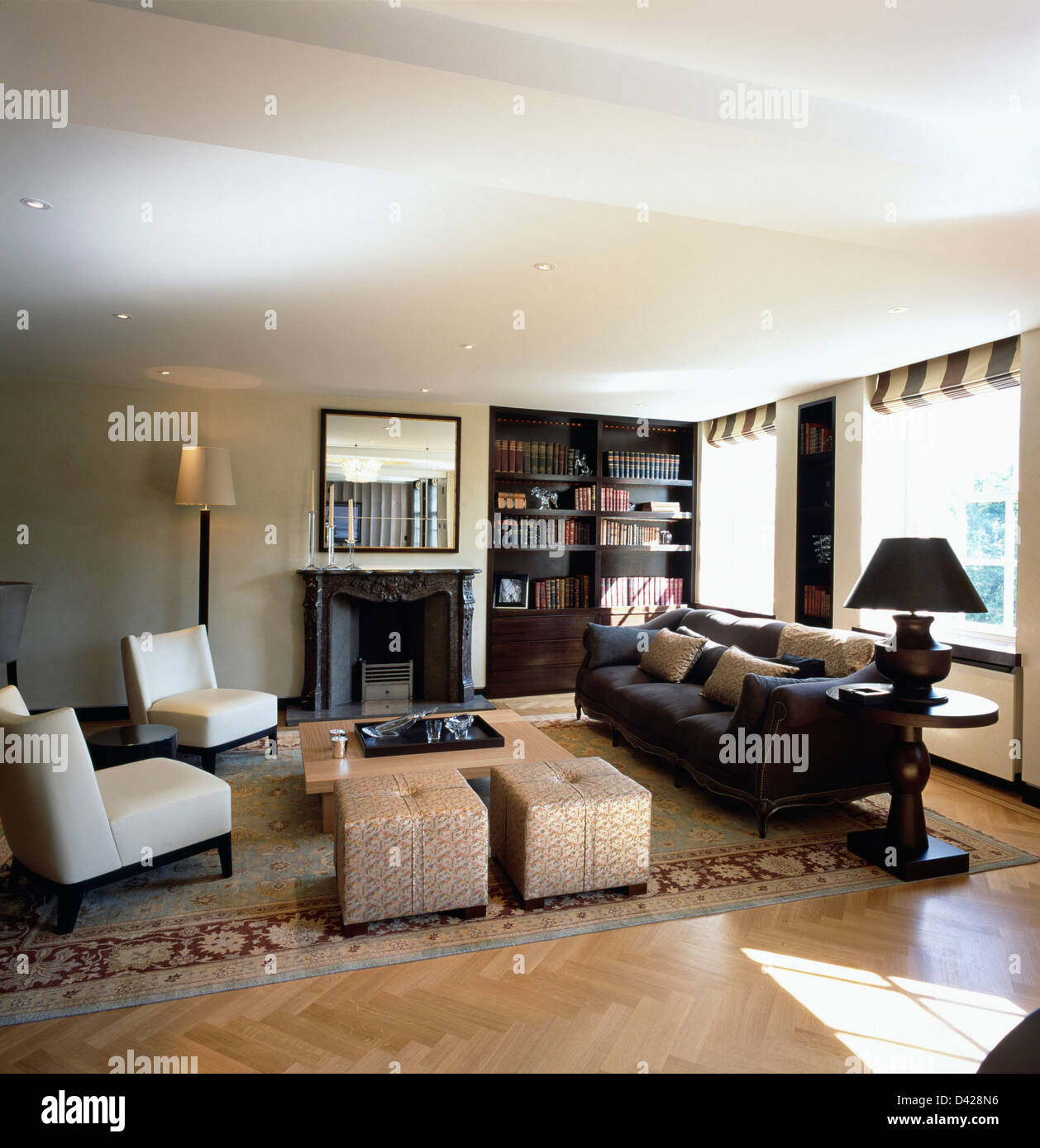 white leather chairs for living room best back pain at home uk dark gray sofa and with upholstered stools in modern apartment fitted storage system